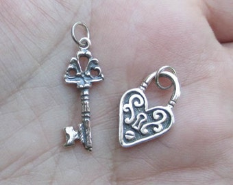 Sterling Silver Heart Lock Charm or Key Charm