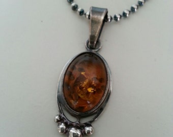 Amber Pendant in Sterling Silver