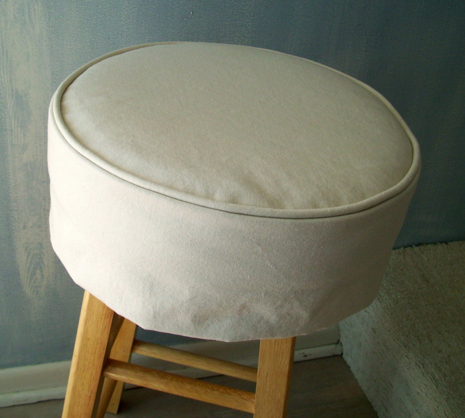 Ivory Bar Stool Cushion Round Barstool Slipcover With