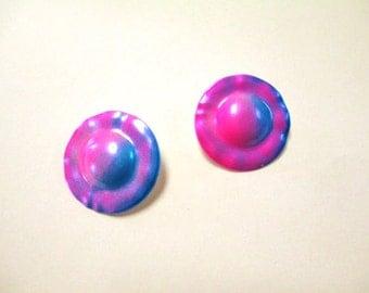 Vintage Neon Pink and Purple Metal Earrings DEADSTOCK