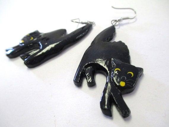 Vintage 80s Black Cat Painted Wood Earrings DEADSTOCK