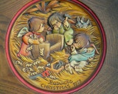 Vintage Christmas Wall Hanging Anri Italy Plate Carving