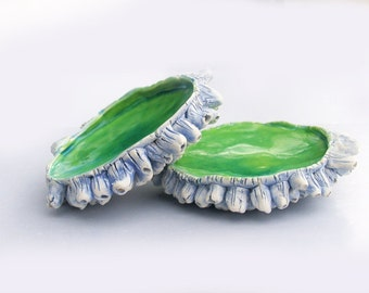 Barnacles Sculpture soap dish, candle holder, ring holder, turquoise, green, white and lavender, sea treasures