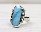 Handmade Silver Ring with Larimar, framed with stepped art deco silver accents