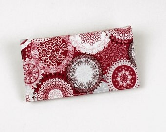 Red Checkbook Cover with Pen Holder for Duplicate Checks - Geometric Suzani Circles Cotton Fabric