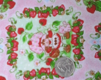 "Sale Strawberry Shortcake Novelty Fabric 100% Cotton 1 yard x 44"" Prewashed"