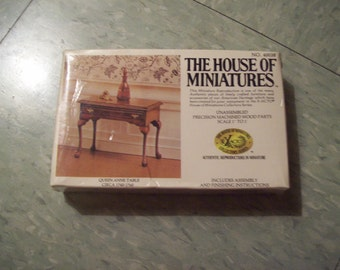 Vintage House of Miniatures, doll house furiture, Queen Anne Table, from 1976.