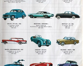 Vintage Children Stamp Book Moderns Cars 70's - Encyclopédie par le timbre Voitures Modernes