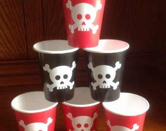 Vinyl Pirate Party Cups - Set of 8