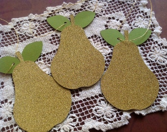Golden Pear Tags - Set of 6