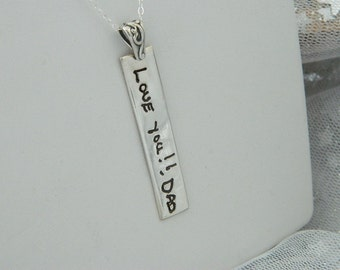 Long Rectangle Handwriting Pendant Signature Jewelry in Sterling Silver