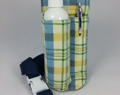 massage therapy single lotion bottle LEFT hip holster,  blue, yellow, green plaid,  blue belt