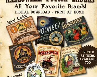 Potion Bottle Labels Vintage Witch Apothecary Digital Download Halloween Printable Aged Color DIY Jar Tags Prim Clip Art Scrapbook Images