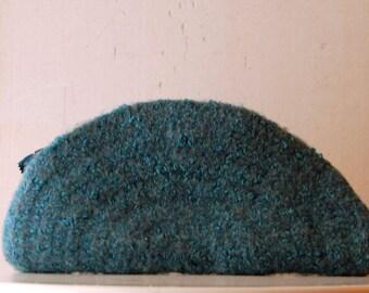 Felted Wool Clutch - Teal Blue - Zip Me Up - Modern Urban Bohemian Chic