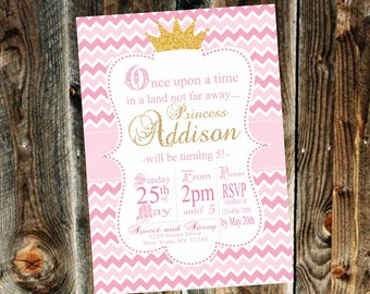 Pink and Gold Princess Birthday Party Invitation - Print your own