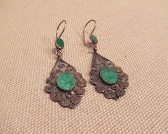 Tribal silver and brass hook earrings -- old Kuchi jewelry -- heavy patina (FREE SHIPPING SALE)