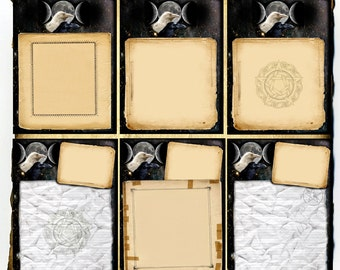 Raven Magick Pages 6pc Set - Digital Download Graphics - Book of Shadows, Grimoire, Scrapbook, Witchcraft, Wicca, Pagan