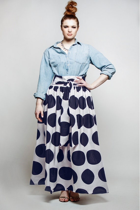 JIBRI Plus Size High Waist Polka Dot Maxi Skirt (attached wrap belt)