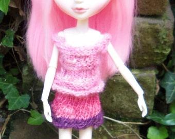 Blythe or Tangkou Hand Knit Tank Top and Skirt Set