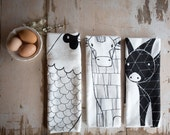 Barnyard Tea Towel Bundle, Barnyard Dishcloth, Barnyard Kitchen Towel, Barnyard Kitchen Decor, Home Essentials, Gift For Her, Animal Lover