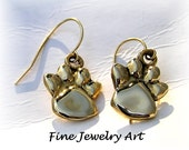 Custom 14k Solid Gold Paw Print Earring Pads  Sterling Toes on Sterling Wires With Inset Diamonds & Aqua - Payment 2 of 3 - Fine Jewelry Art