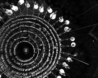 Photograph Abstract Black and White Egyptian Circular Crystal Chandelier Light in Islamic Mosque Masjid Cairo Travel Art Print Home Decor