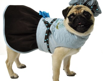 Blue Dog Coat Jacket with Brown Corduroy ruffled skirt