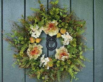 Summer Serenade - Peony and Hydrangea Wreath, Summer Wreath, Summer Decor, Garden Party, Spring Wreath, Spring, Bridal Decor