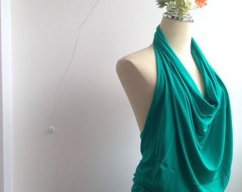 Backless Drape V neckHalter Blouse in Pine Green