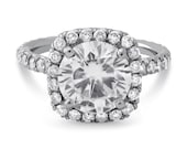 Round Cut Harry Winston Inspired diamond engagement ring with Halo and U shape micro pave diamonds