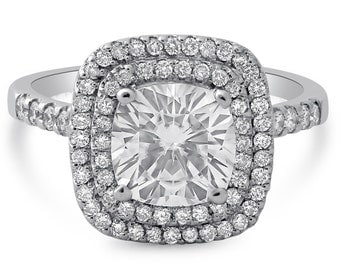 2.65ctw Forever One Cushion Moissanite and Diamond Engagment Ring Double Halo C20