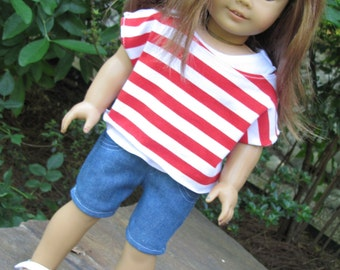 American Girl Doll Liberty Jane Red Striped off the Shoulder Tee, Tank and Bermuda Shorts