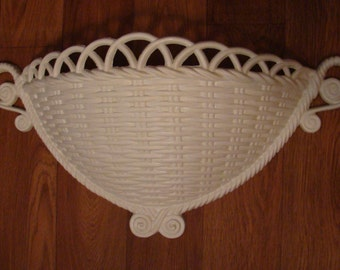 Vintage Large Homco Syroco White Wall Planter/Pocket/Hanging-Wicker Look-1980s-Never Used