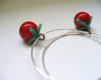 Red Earrings Glass Vintage Charms Lampwork Beads Silver Hoops