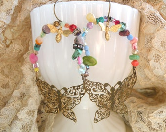 assemblage earrings butterfly hoop colorful shabby chic beads