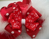 Toddler Hair Bow,Hearts and  Polka Dots Valentine Red and White Double Hair Bow