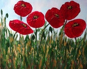 Poppy Painting,Original Acrylic,Signed Canvas,Gallery Wrapped Wood, Home Decor,Penny Hunt,Red Poppies,Fine Art, Impressionism,Signed 10X10