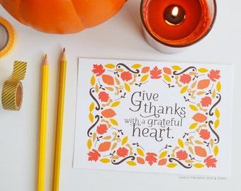 Fall art, Fall Decor, Give Thanks, Happy Fall, Seasonal Decor, Autumn, Illustration, Thanksgiving, Pumpkins, Sunflowers, Art Print, leaves