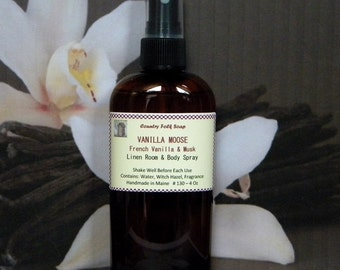 VANILLA MOOSE Body Spray -Vanilla Room Spray - French Vanilla Musk Linen Spray & Air Freshener