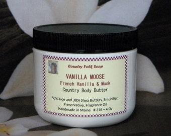 VANILLA MOOSE French Vanilla Body Butter - 4 Oz Handmade Body Butter Vanilla Musk Scented