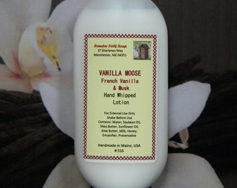 VANILLA MOOSE Lotion- Handmade French Vanilla Musk Hand and Body Lotion