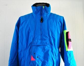 Rad 90s Ski Jacket by Kaelin Tech Neon Electric Blue Aqua Coat Winter LARGE