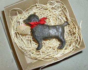New 3D Dresden Paper Christmas Ornament Black Poodle W Basket Flowers & Bow
