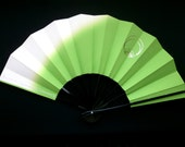Japanese Dance Fan - Vintage Dance Fan - Mai Ogi - Paper Fan - Japanese Vintage Fan - Green White Gold Hand Fan (F43) Gold Pine Family Crest