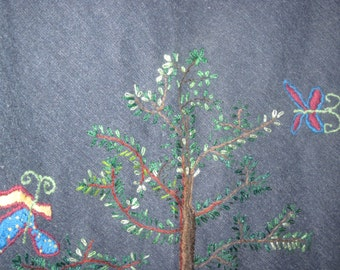 Custom designed embroidered tree and butterflies