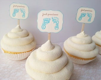 Cupcake Toppers Foot Prints Baby Shower Just Precious Its a Boy Food Picks Set of 12