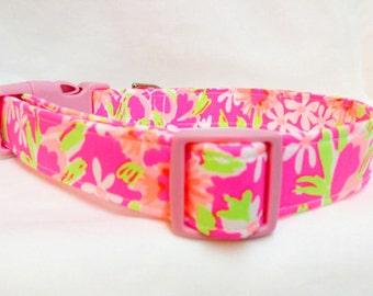 Lilly Pulitzer Fabric Dog Collar Girl Hot Pink Green Orange Flowers