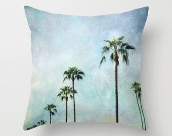 Decorative pillow cover, Palm trees,18x18 or 22x22, turquoise pillow,teal,aqua,nature,photo pillow,retro,travel,home decor
