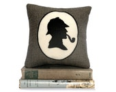 Sherlock Holmes Book Lovers Bookshelf Pillow Houndstooth Shadow Silhouette