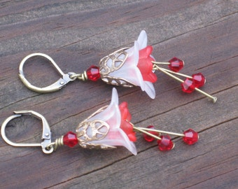 Romantic Vintaj White and Red Lily Flower Earrings